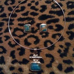 Jewelry - Silver & turquoise choker & earrings set